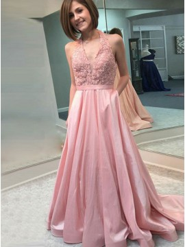 A-Line Halter Backless Pink Prom Dress with Appliques Pockets