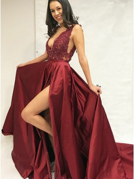 A-Line V-Neck Court Train Burgundy Prom Dress with Appliques
