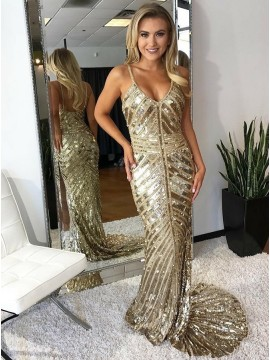 Mermaid Soaghetti Straps Backless Champagne Long Sequin Prom Dress
