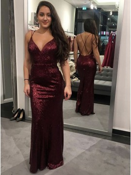 Mermaid Spaghetti Straps Long Burgundy Sequined Prom Dress