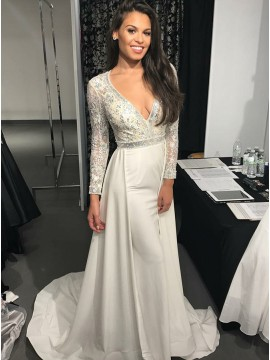 Mermaid V-Neck Long Sleeves Ivory Detachable Prom Dress with Sequins
