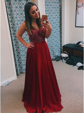 A-Line V-Neck Backless Burgundy Long Prom Dress with Beading