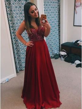 A-Line V-Neck Backless Burgundy Long Prom Dress with Beading