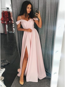 A-Line Spaghetti Straps Sweep Train Pink Prom Dress with Split