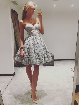 A-Line Sweetheart Knee-Length Grey Lace Prom Homecoming Dress