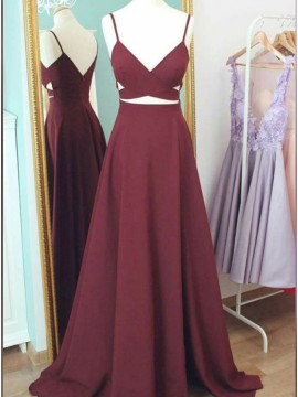 A-Line Satin Spaghetti Straps Burgundy Long Prom Dress