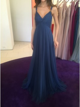 A-Line Straps Open Back Blue Prom Dress with Pleats