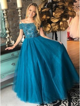 A-Line Spaghetti Straps Long Turquoise Prom Dress with Beading Sequins