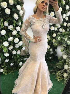 Mermaid Scalloped-Edge Sweep Train Light Champagne Lace Prom Dress with Beading