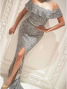 Mermaid Off-the-Shoulder Silver Sequined Prom Dress with Split