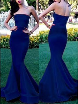 Mermaid Strapless Sleeveless Navy Blue Stretch Satin Prom Dress