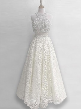 Two Piece Round Neck Sleeveless Ivory Lace Prom Dress with Pearls