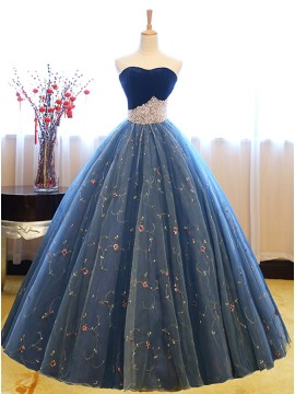 Long Ball Gown Sweetheart Sleeveless Blue Prom Dress with Pearls