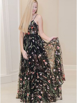 A-Line Spaghetti Straps Black Long Prom Dress with Embroidery