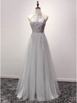 A-line Grey Halter Sequins Tulle Floor-length Prom Dress