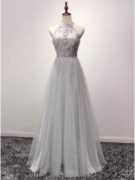 A-line Grey Halter Sequins Tulle Floor-length Prom Dress