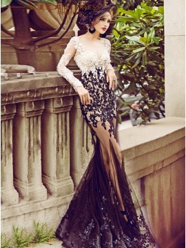 Mermaid Black Appliques Beaded Tulle Sweep Train Prom Dress
