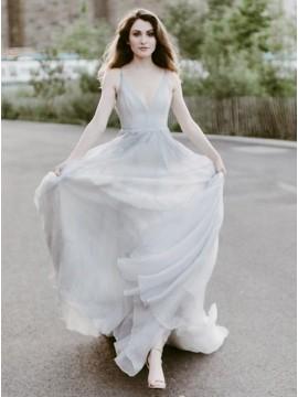 Grey Spaghetti Straps Chiffon Sweep Train Prom Party Dress