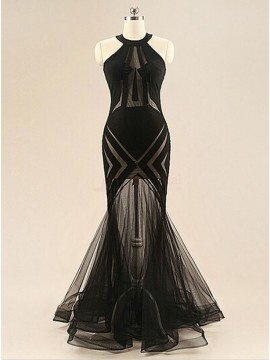 Mermaid Black Halter Ruched Sleeveless Prom/Evening Dress