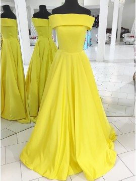 A-Line Off-the-Shoulder Sweep Train Yellow Satin Prom Dress with Pleat
