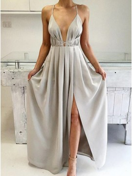 A-Line Halter Floor Length Grey Chiffon Prom Dress with Criss-Cross Straps