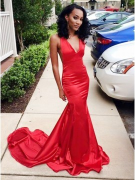 Mermaid V-Neck Sweep Train Red Stretch Satin Sleeveless Prom Dress with Ruched
