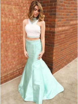 Two Piece Mermaid Mint High Neck Beaded Sleeveless Floor Length Prom Dress