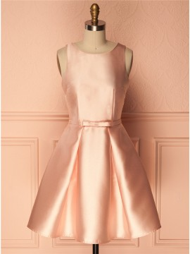 A-Line Crew Short Pearl Pink Satin Homecoming/Cocktail Dress with Pleats