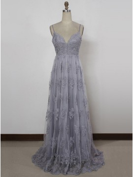 A-Line Spaghetti Straps Backless Grey Tulle Prom Dress with Appliques