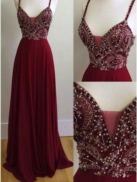 A Line Spaghetti Straps Burgundy Chiffon Prom Dress with Beading Backless