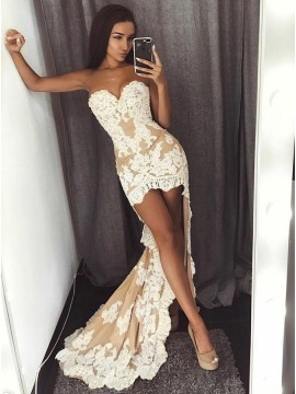 Mermaid High-Low Champagne Tulle Prom Dress with Appliques