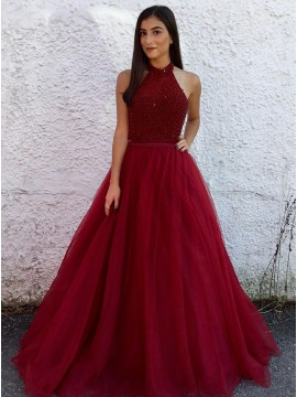 A-Line Halter Sweep Train Red Tulle Prom Dress with Beading