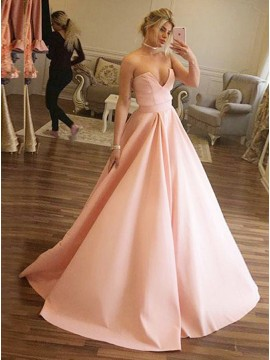 A-Line Sweetheart Sweep Train Pink Satin Prom Dress with Pleats