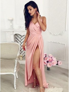 A-Line Spaghetti Straps Asymmetry Pink Stretch Satin Prom Dress with Split