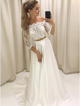 Two Piece Off-the-Shoulder 3/4 Sleeves White Satin Prom Dress with Lace