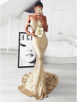 Mermaid Off-the-Shoulder Sweep Train Gold Sequined Prom Dress