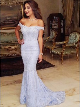 Mermaid Off-the-shoulder Lace Prom Dress with Appliques