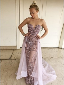 Mermaid Sweetheart Detachable Train Tulle Prom Dress with Beading