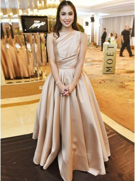 A-Line One-Shoulder Sleeveless Pleated Champagne Satin Prom Dress