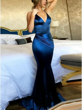 Mermaid Spaghetti Straps Ruched Royal Blue Stretch Satin Prom Dress