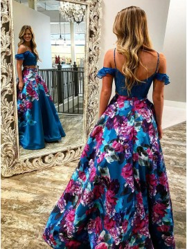 Two Piece Spaghetti Straps Cold Shoulder Royal Blue Floral Prom Dress
