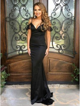 Mermaid Spaghetti Straps Black Stretch Satin Prom Dress with Ruffles