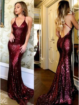 Mermaid Spaghetti Straps Backless Long Burgundy Sequined Prom Dress