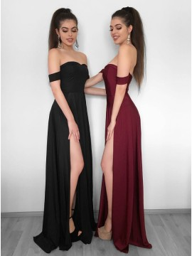 A-Line Sweetheart Black Long Prom Dress with Split