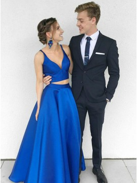 16d429b3c95 Two Piece V-Neck Floor-Length Royal Blue Satin Pro.