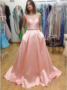 A-Line Sweetheart Sweep Train Pink Satin Prom Dress with Beading Pockets