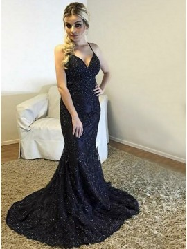 Mermaid Spaghetti Straps Sweep Train Navy Blue Prom Dress with Beading