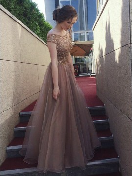 A-Line Crew Cap Sleeves Champagne Prom Dress with Beading Evening Dress