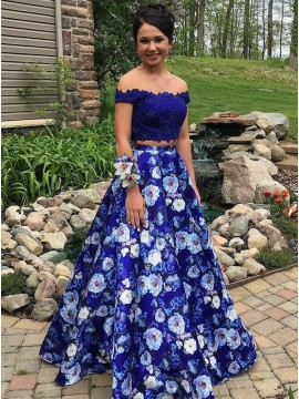 5f94cf8e64c Two Piece Off-the-Shoulder Royal Blue Floral Prom .