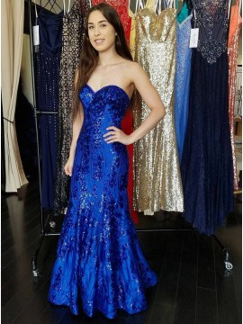 Mermaid Sweetheart Royal Blue Prom Dress with Appliques